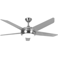 """54"""" Neptune Ceiling Fan In Brushed Nickel With Remote Control And LED Light"""