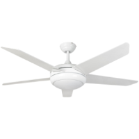 """54"""" Neptune Ceiling Fan In White With Remote Control And LED Light"""