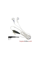 WHITE EARPHONE BUD STYLE EARPIECE FOR THE KENWOOD 2-PIN RADIO