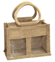 2 JAR JUTE BAG with Window, Partition and Cotton Corded Handles -17x10x14cm high - NATURAL