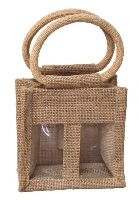 2 MINI BOTTLE JUTE BAG with Window, Partition and Cotton Corded Handles -12x8x12cm high - NATURAL
