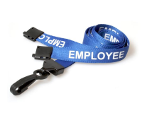 Blue EMPLOYEE lanyards with plastic hook