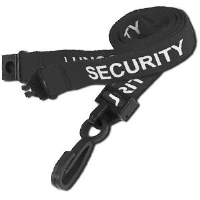 Black SECURITY lanyards with plastic hook