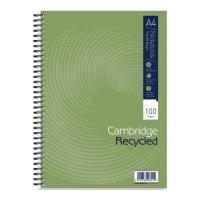 Cambridge Recycled A4 Spiral Wiro Notebooks pack of 5