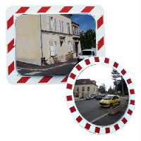 Stainless Steel Traffic Mirrors Vialux Red-White Frame