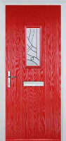 1 Square Abstract Composite Front Door in Poppy Red