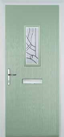 1 Square Abstract Timber Solid Core Door in Chartwell Green