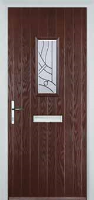 1 Square Abstract Timber Solid Core Door in Darkwood