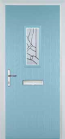 1 Square Abstract Timber Solid Core Door in Duck Egg Blue