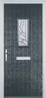 1 Square Abstract Timber Solid Core Door in Anthracite Grey