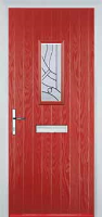 1 Square Abstract Timber Solid Core Door in Red