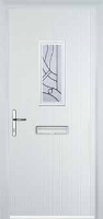 1 Square Abstract Timber Solid Core Door in White