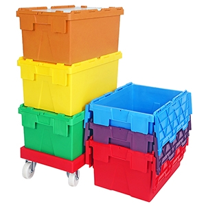 Attached Lid Plastic Boxes and Crates