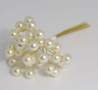 10mm Triple Pearls (12 Bunch) - 15cm, White/ Silver