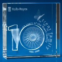 CRYSTAL GLASS SQUARE AWARD OR TROPHY.