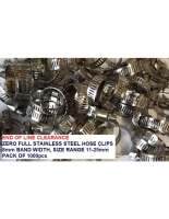 Zero 350 range hose clips **CLEARANCE ITEM** 8mm band width full SS 11-25mm