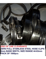 Zero 350 Range Hose Clips **CLEARANCE ITEM** 8mm Band Width Full SS 44-63mm