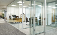 Single Glazed Glass Partitioning Systems For Use In Open Plan Offices