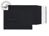 6141W Blake Creative Colour Jet Black Window Peel & Seal Gusset Pocket 229X162X25 140G Pk125 Code 6141W 3P- 6141W