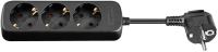 MicroConnect 3-way Schuko Socket 1.5M Black Without ON/OFF Switch, GRU003B-WOS - eet01