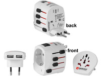 MicroConnect SKROSS World Adapter Dual USB, 2- and 3-Pole PETRAVEL12-C1 - eet01