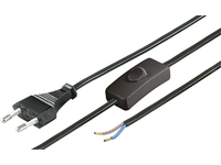 MicroConnect Euro Male to Loose Cable Ends With switch, 1.5m Black PE030715OP - eet01