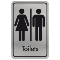 Large Toilets Door Sign - Black on Silver