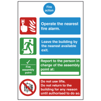 4 Point Premises Fire Action Safety Sign
