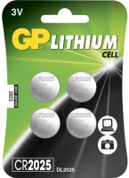 GP Batteries GP LITHIUM BUTTON CELL CR2025 Blister with 4 batteries. 3V 103181-GP - eet01