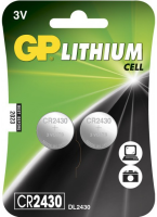 GP Batteries GP LITHIUM BUTTON CELL CR2430 Blister with 2 batteries. 3V 103184-GP - eet01