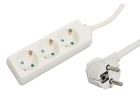 GRU003W MicroConnect 3-way Schuko Socket 1.8M White Without ON/OFF Switch, - eet01