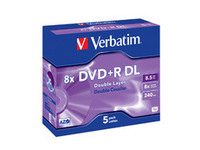 Verbatim DVD+R Double Layer 8X 8.5GB Branded Matt Silver,5 Pack 43541 - eet01