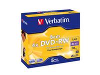 Verbatim DVD+RW 8cm 4X 1.4GB Hard Coat. Branded Matt Silver,5 Pack 43565 - eet01