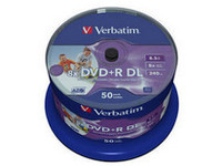 Verbatim DVD+R Double Layer 8X 8.5GB Wide withe printable no ID,50 43703 - eet01