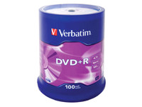 Verbatim DVD+R  16X 4.7GB Branded Matt Silver,100 Pack 43551 - eet01