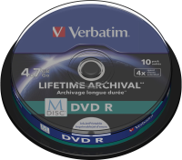 Verbatim DVD-R M-disc 4x PRINTABLE 10 SPINDLE 43824 - eet01