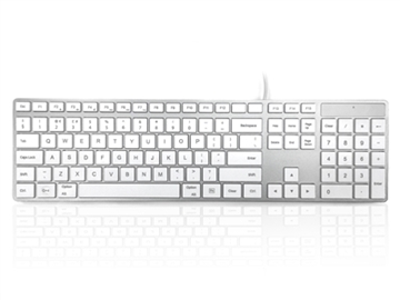 USB Wired Full Size Apple Mac Multimedia Keyboard with White Square Tactile Keys and Silver Case