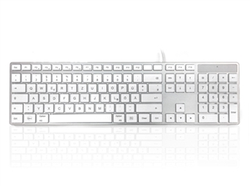 USB Wired Full Size Apple Mac Multimedia Keyboard with White Square Tactile Keys and Silver Case - GERMAN Keyboard Layout