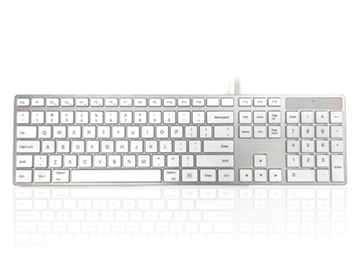 USB Wired Full Size Apple Mac Multimedia Keyboard with White Square Tactile Keys and Silver Case - US English Keyboard Layout