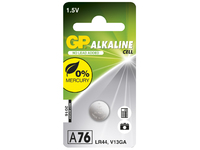 GP Batteries ALKALINE BUTTON CELL LR44 Blister with 1 battery. 1,5V A76 1-P 76A - eet01