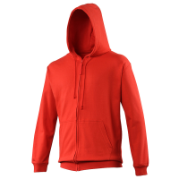 Bespoke Promotional Fruit Of The Loom Ladies Red Zip Front Hooded Sweatshirts For Shinty