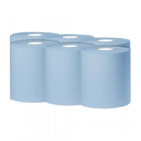 2Work 1-Ply Centrefeed Roll 300m Blue (Pack of 6) KF03803