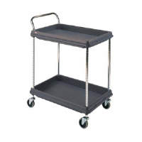 2 Tier Black H1041x W984xD689mm Deep Ledge Trolley 322447