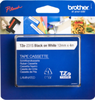 brother 12MM GLOSS Black on White (4metre) TZE231S2 - MW01