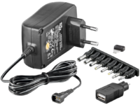 MicroConnect 3-12V Univ. Power Supply Including USB + 8 DC Adapter PETRAVEL30 - eet01