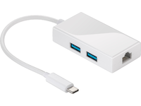 MicroConnect USB - C to RJ 45 White And 2 X USB 3.0 port. 0,2meter USB3.1CETHUSBW - eet01