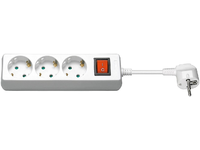 MicroConnect 3-way Schuko Socket 3M White With Illuminated Switch GRU0033WS - eet01