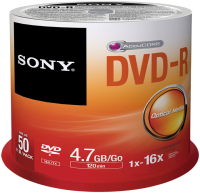 Sony DVD-R, 16X, SPINDLE 50 PCS  50DMR47SP - eet01