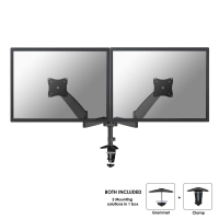 "Newstar Newstar Full Motion Dual Desk Mount (clamp & Grommet) For Two 10-27"" Monitor Screens  Height Adjustable (gas Spring) - Black - Desk Mount For 2 Lcd Displays (tilt & Swivel) - Black - Screen Size: 10""-27"" - Clamp Mountable  Grommet Fpma-d950db"
