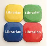 32mm Square Button Badge - Librarian